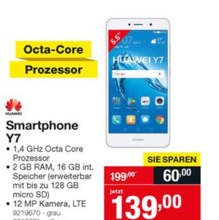 Huawei Y7 Smartphone grau und silber bei Staples