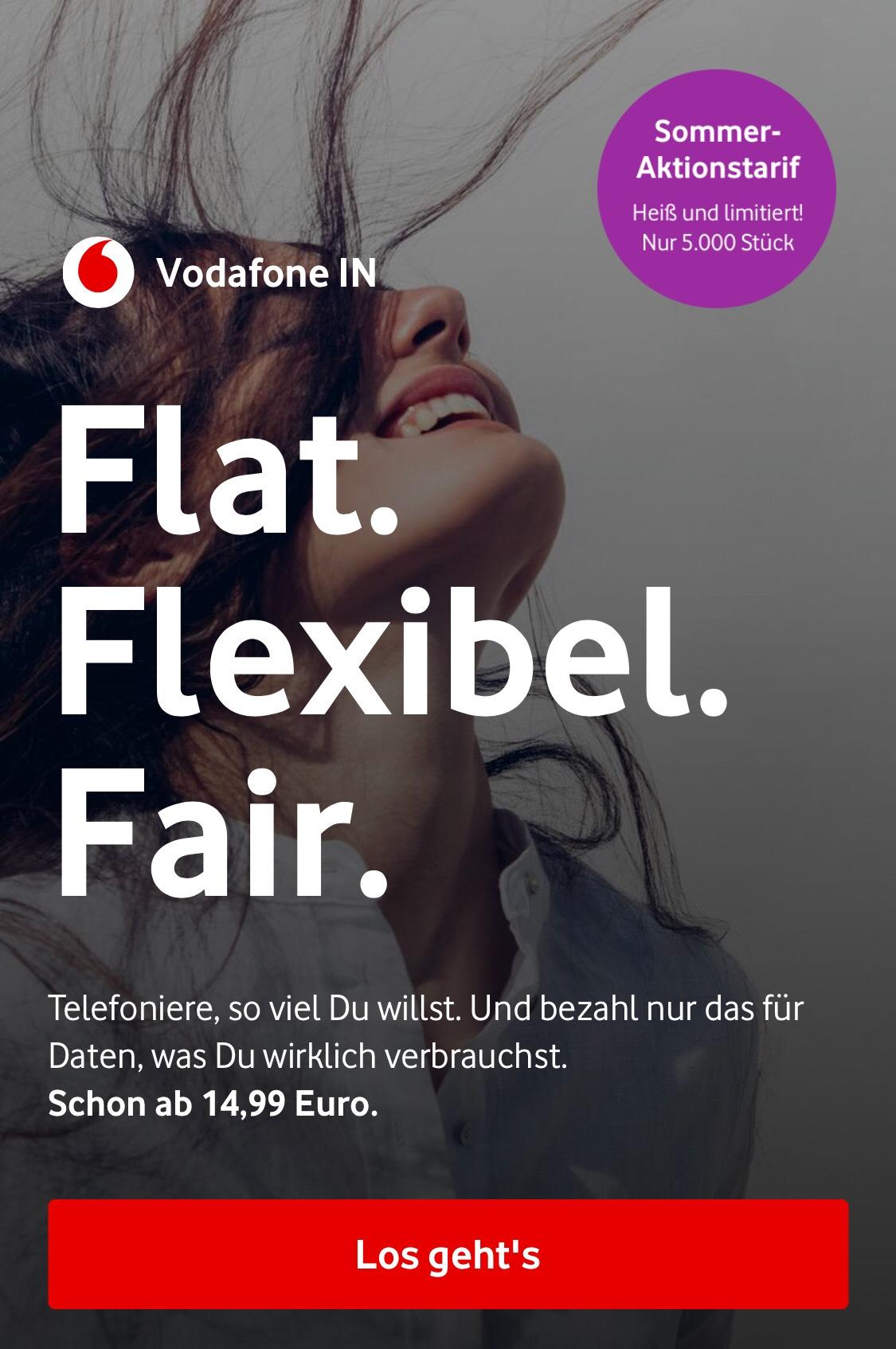 Vodafone IN 14,99€/Mon Allnet Flat 1GB 24Monate MVL jedes halbe GB 1€!!!