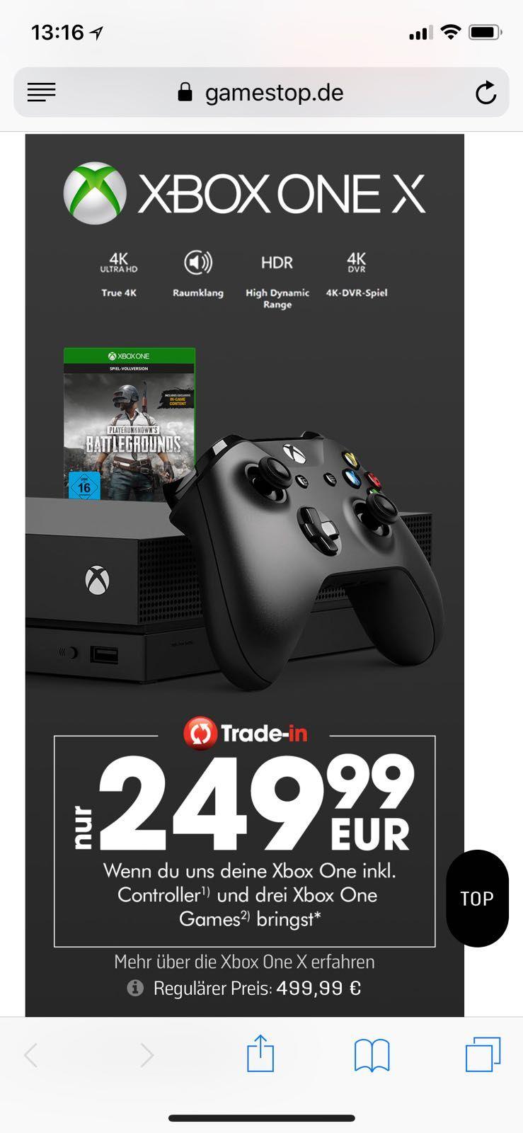 Xbox one x für 249,99€ Trade-in bei Gamestop