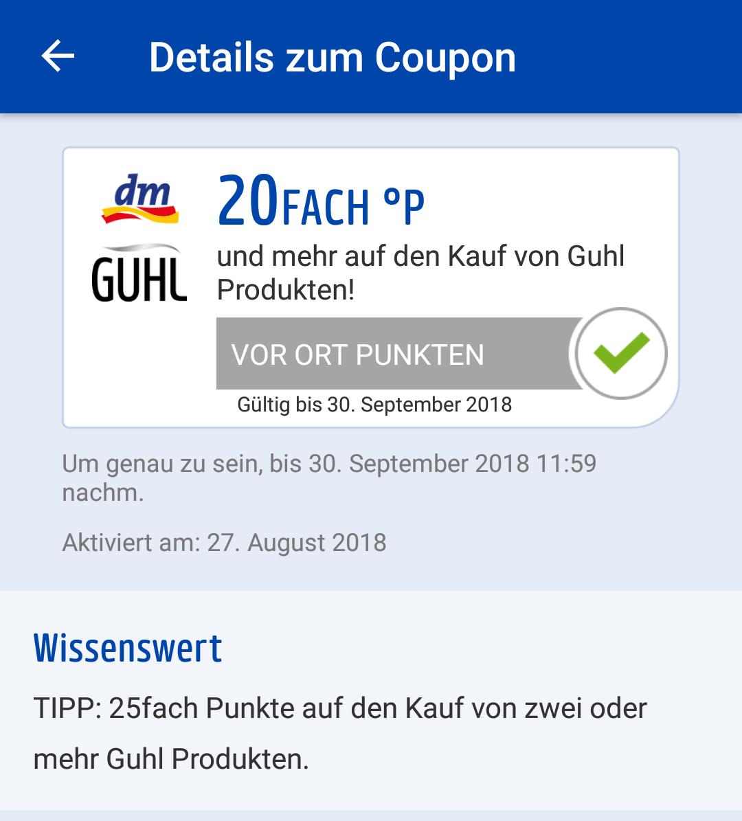dm Payback: bis zu 25fach Punkte (25%) auf Guhl Produkte