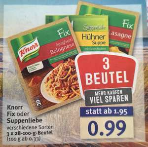 [Combi] 3 Beutel Knorr Fix oder Suppenliebe 0,99€