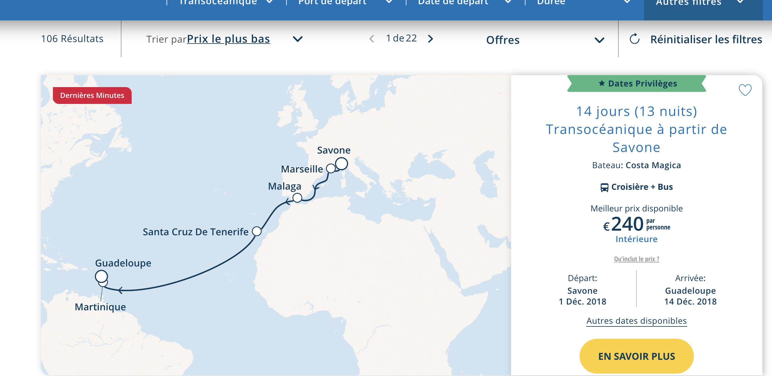 Transatlantik Kreuzfahrt ab 240 Euro pP mit Costa im Dezember (viele Reisen und Kabinen verfügbar)