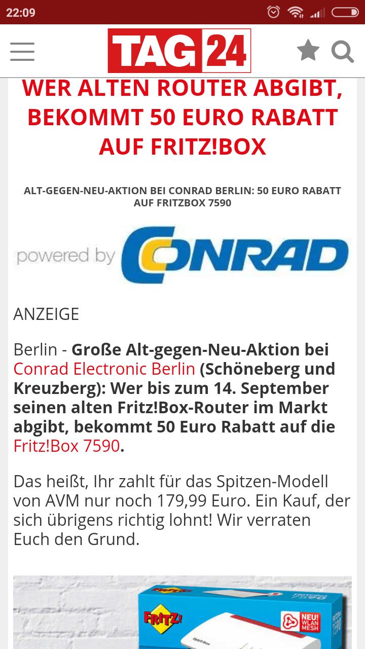 (nur Berlin) Fritz!Box 7590 für 179,99 € bei Conrad,  Alt-gegen-Neu Aktion in Berlin