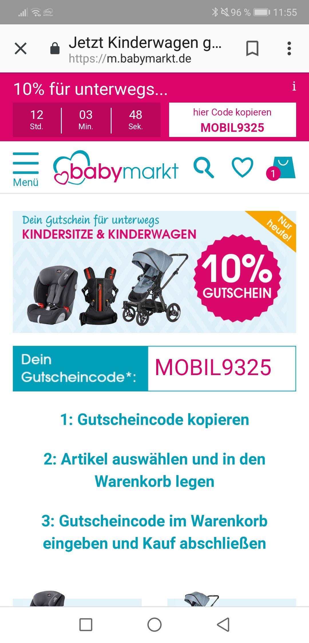 Babymarkt - 10% auf Kindersitze, Wagen und Tragen