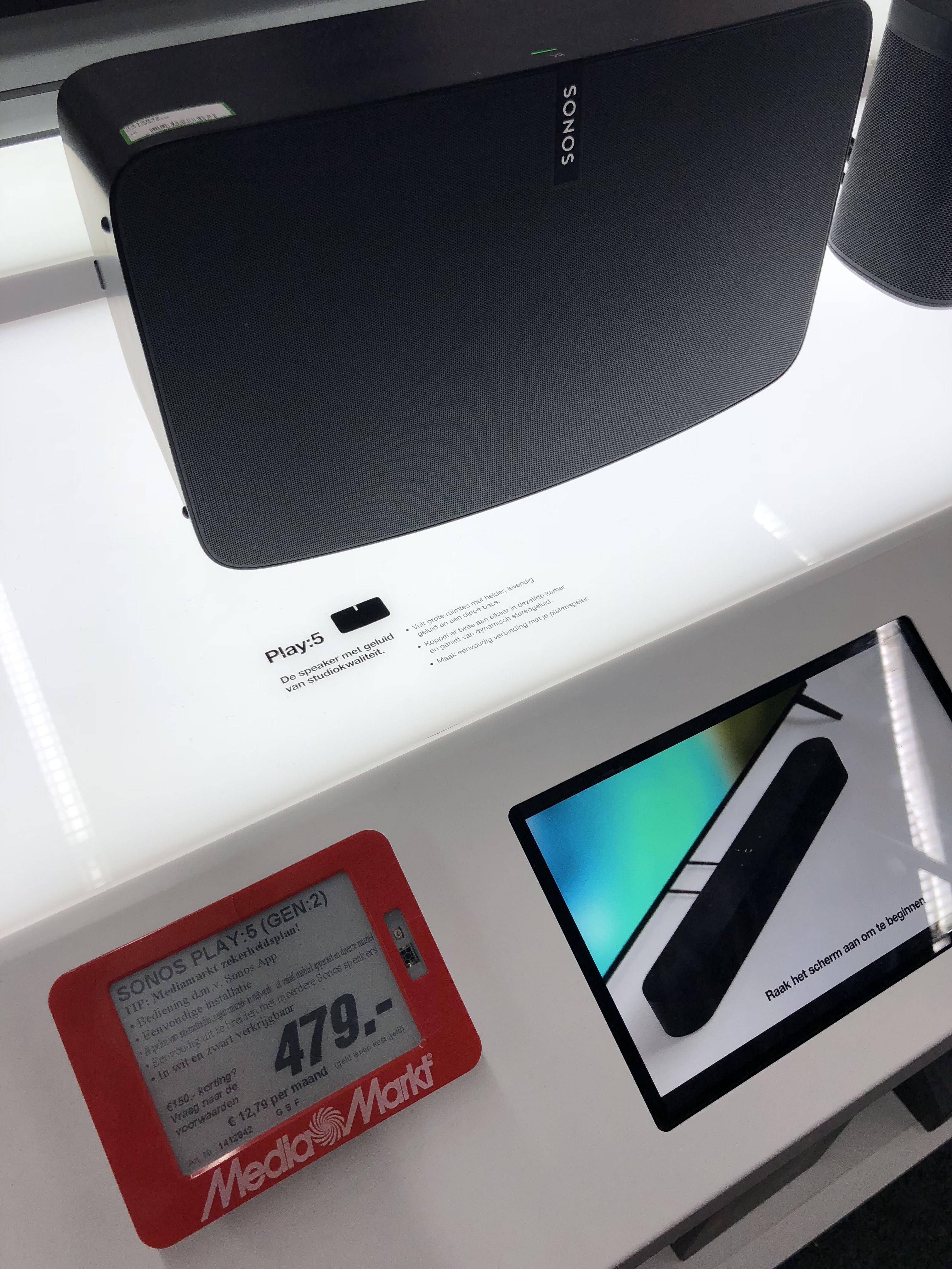 Sonos Play:5 WLAN-Speaker (für Musikstreaming, WLAN, AirPlay) schwarz und weiß / Media Markt Roermond / Grenzgänger/ LOKAL