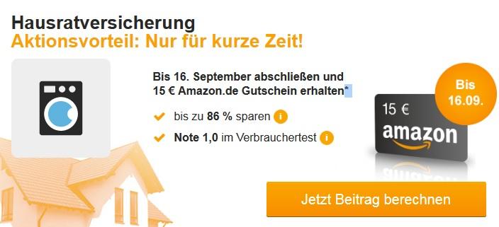 [HUK24] Hausratversicherung abschließen + 15,00 EUR Amazon-Gutschein erhalten
