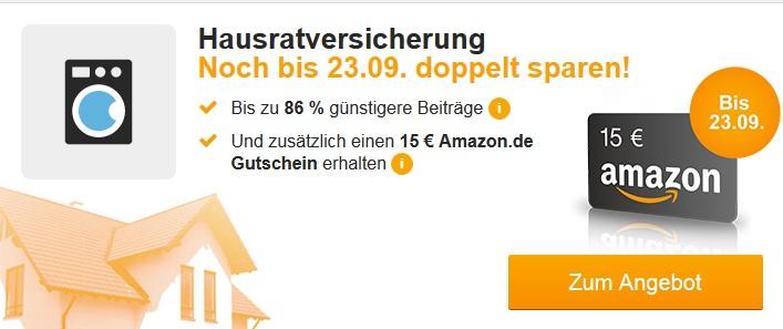 Hausratversicherung von HUK24 abschließen + 15,00 EUR Amazon-Gutschein erhalten