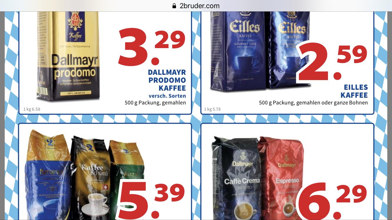 [Lokal 2 Brüder VENLO] 1kg Eilles Kaffee-Bohnen ODER Dallmayr Bohnen