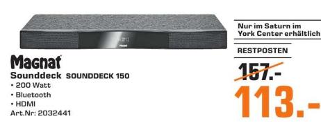 Magnat Sounddeck 150 Heimkino-Sounddeck 200 Watt mit integriertem Subwoofer, Bluetooth und HDMI (Schwarz) für 113€ (Lokal Saturn)