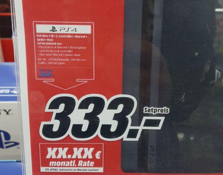 [Mediamarkt Lokal] PS4 Slim 1 TB + 2 Controller + Spider-Man
