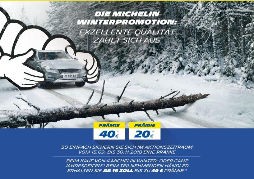 Michelin Winterpromotion - 20/40€ cashback beim Kauf von 4 Winter- oder Ganzjahresreifen