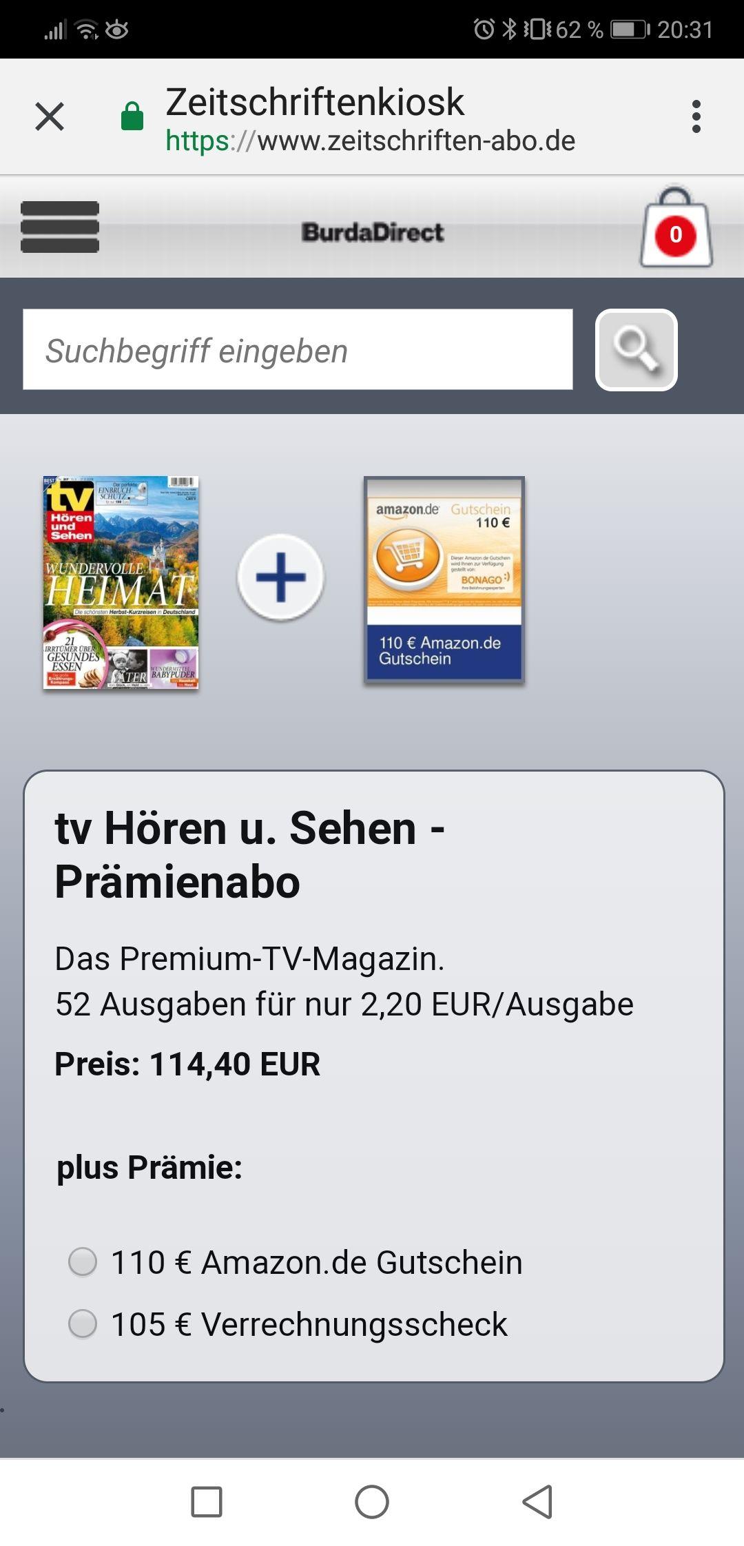 """Jahresabo """"TV Hören und Sehen"""" für 114,40€ + 110€ AMAZON Gutschein oder 105€ Verrechnungscheck"""