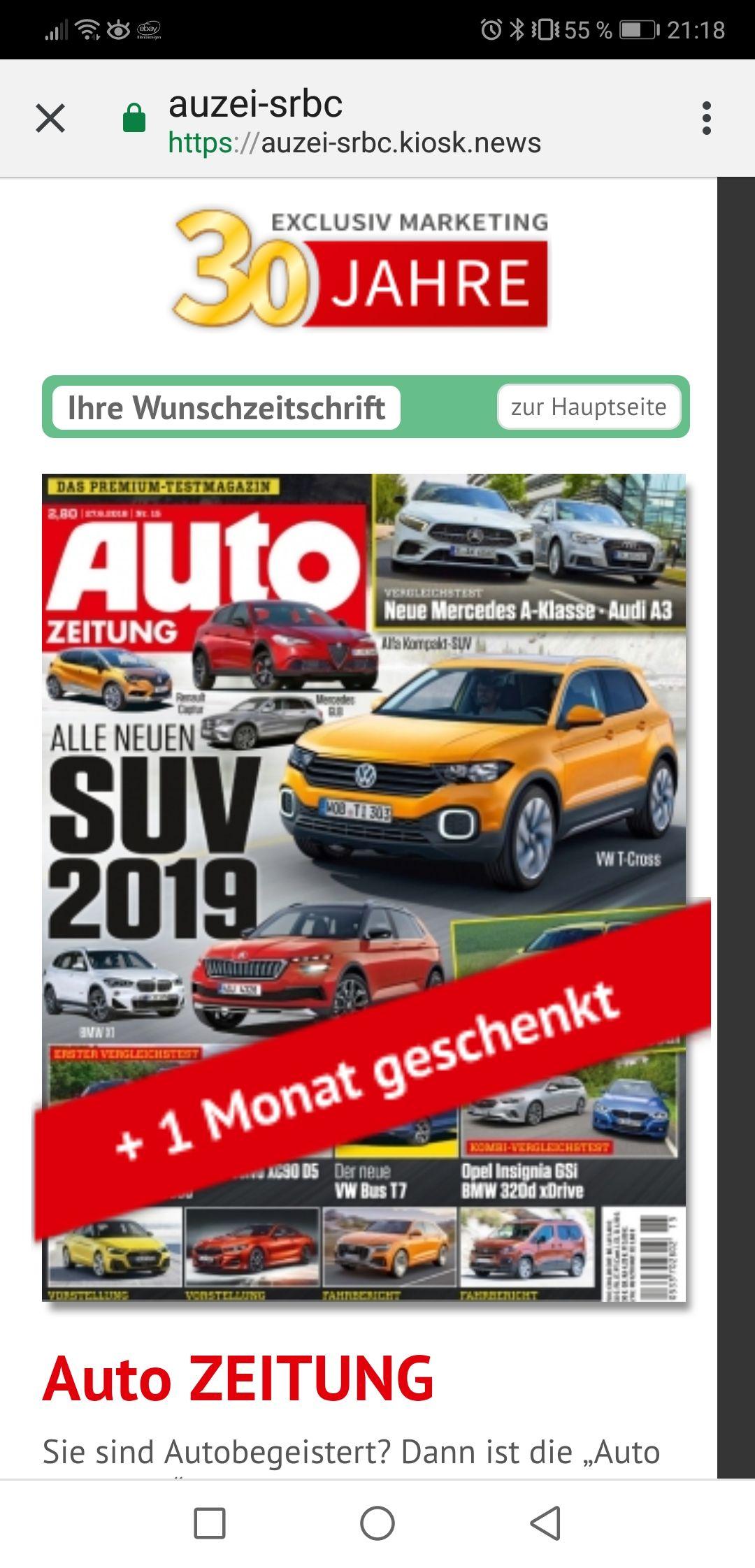 """Abo Zeitschrift """"Auto"""" für 73,75€ + 75€ BestChoice Gutschein"""