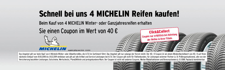 beim Kauf von Michelin Winter-/Allwetterreifen 40 € Gutschein ATU geschenkt