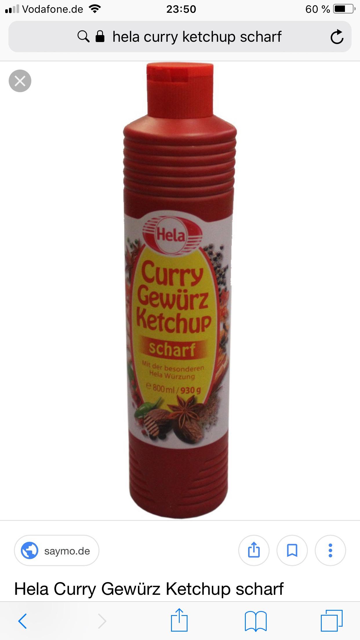 Lokal Magdeburg Hela Curry Gewürz Ketchup scharf pro Flasche 0,30€