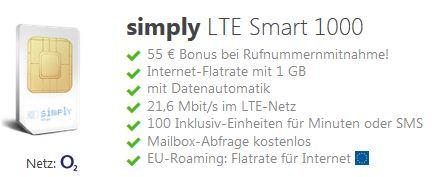 [Simply] LTE Smart 1000 bei Rufnummernmitnahme, monatl. kündbar
