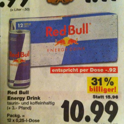[Kaufland] bundesweit: Red Bull 12x0,25l Dose für 10,99€