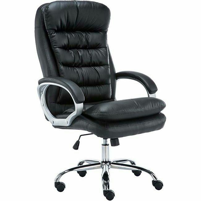 CLP XXL-Bürostuhl VANCOUVER mit Kunstlederbezug I Höhenverstellbarer Drehstuhl mit einer max. Belastbarkeit bis zu 235 kg I Chefsessel mit Laufrollen I In 6 verschiedenen Farben erhältlich