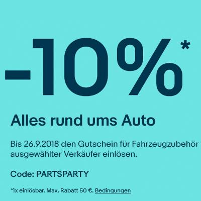[eBay] 10% Gutschein auf Autoteile z.B. Ersatz- & Reparaturteile, Reifen, Öl, Batterien, Leuchten & Co. (ausgewählte Händler)