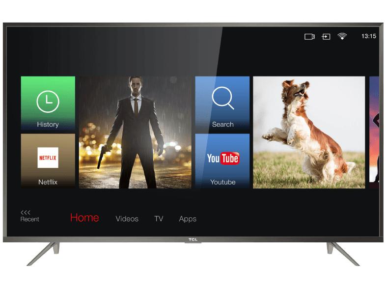 [saturn] TCL U60P6026 - 60 Zoll 4K UHD Smart TV (3840x2160, 360cd/m2, 60 Hz, HDR10@8bit+FRC, HLG, IPS/VA-Panel, Direct LED, Triple Tuner) Brushed Aluminium
