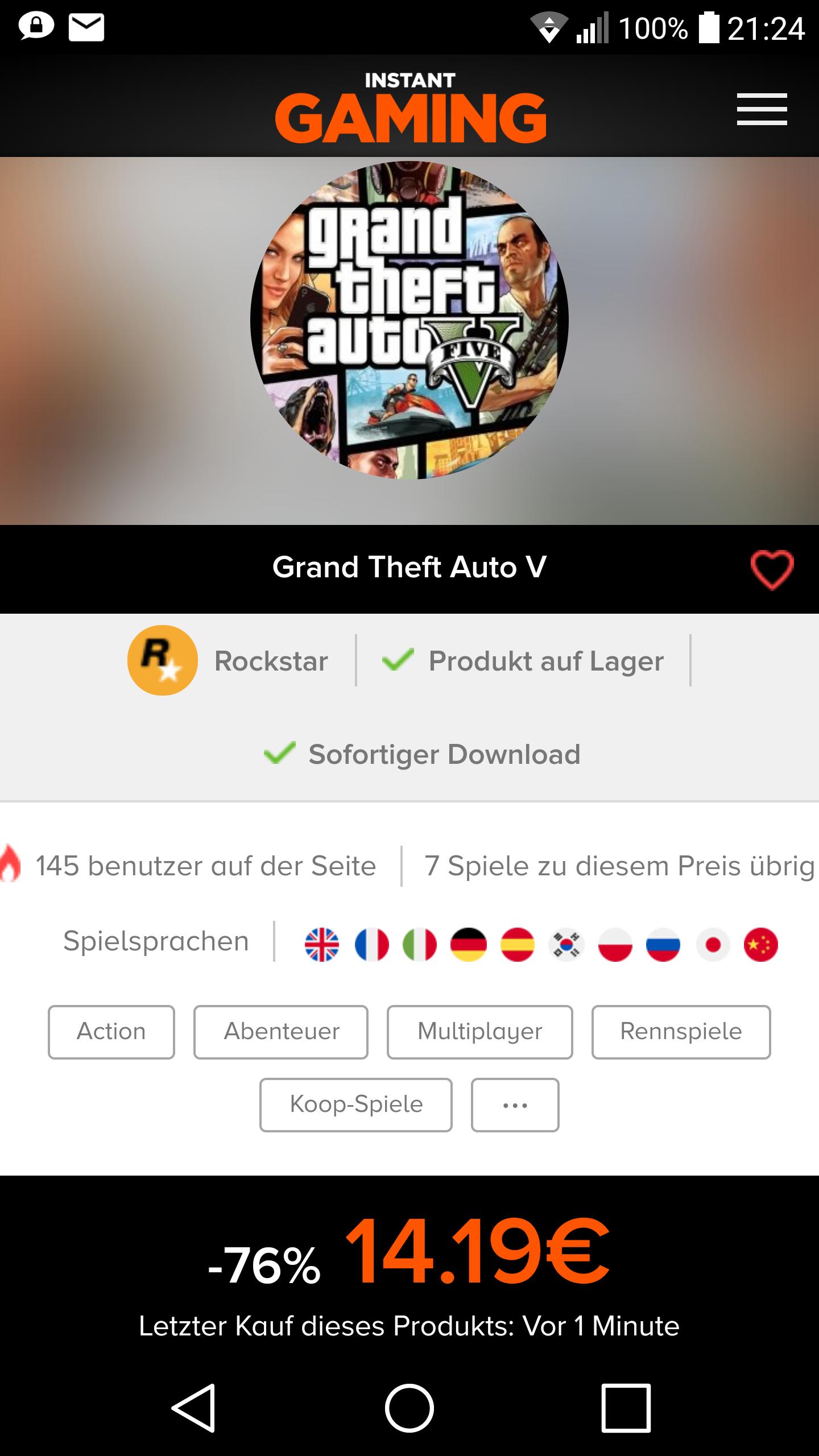 GTA V - BEI INSTANT-GAMING NUR 14€
