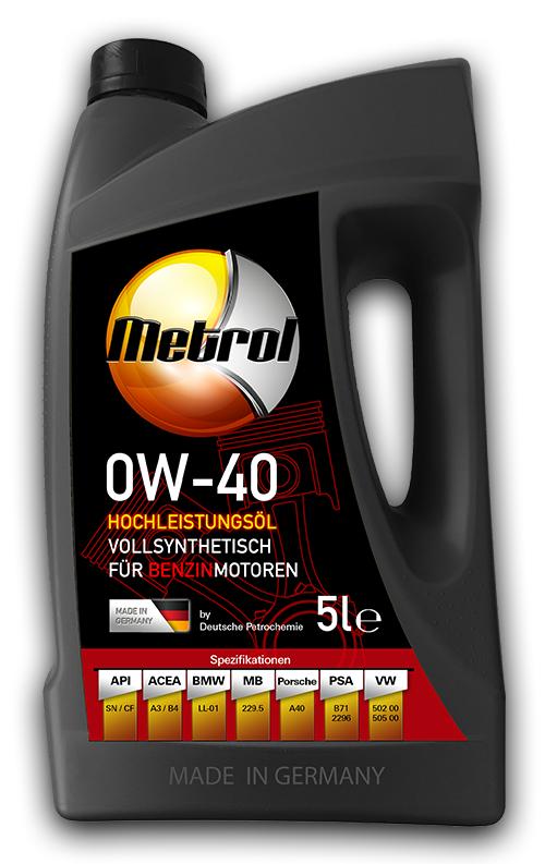 Metrol 5L Gebinde vollsynthetisches Motoröl 0W-40 und 5W-30 // Abverkauf Restposten