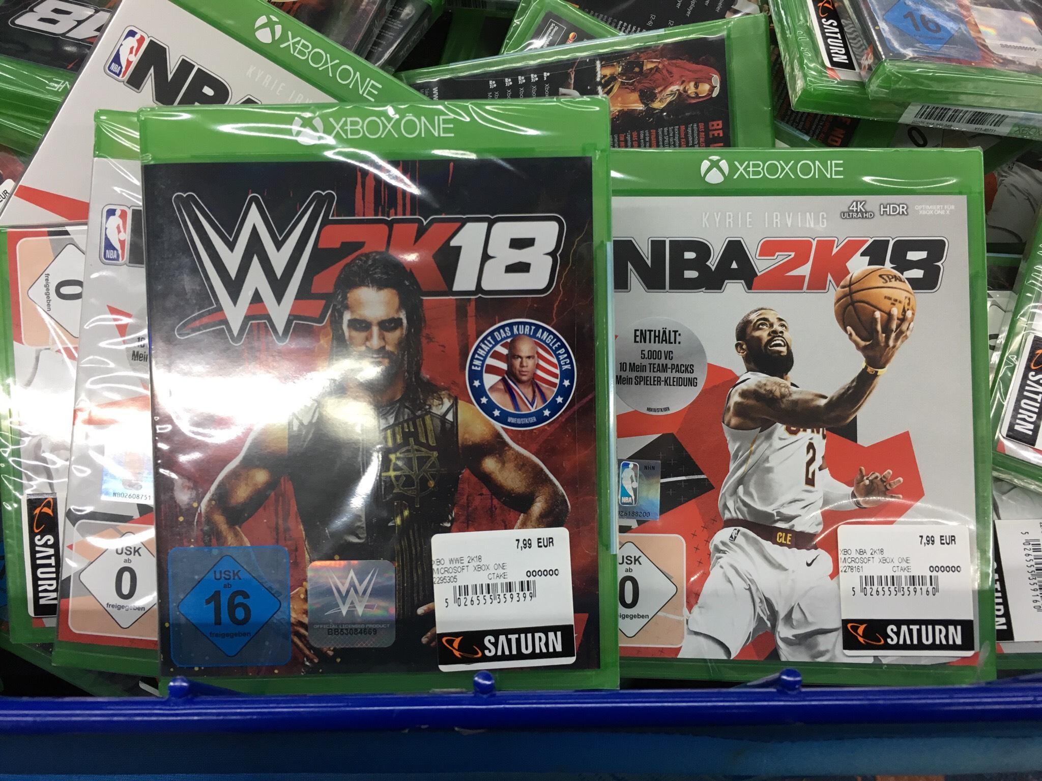 [lokal - Hamburg Saturn-Hbf] WWE 2K18 & NBA 2K18 für die Xbox One für je 7,99 €