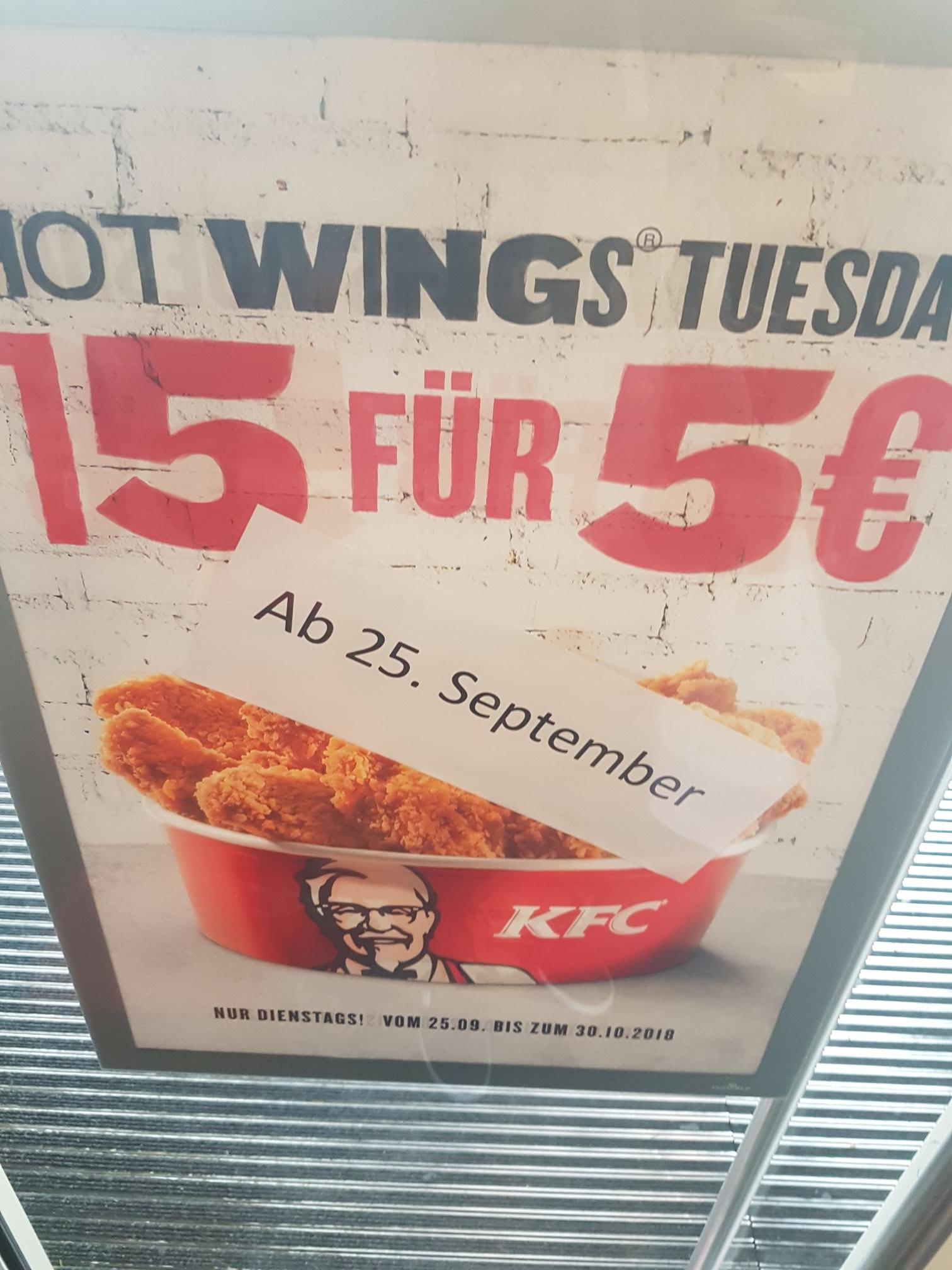 KFC 15 Hot Wings für 5€ - jeden Dienstag