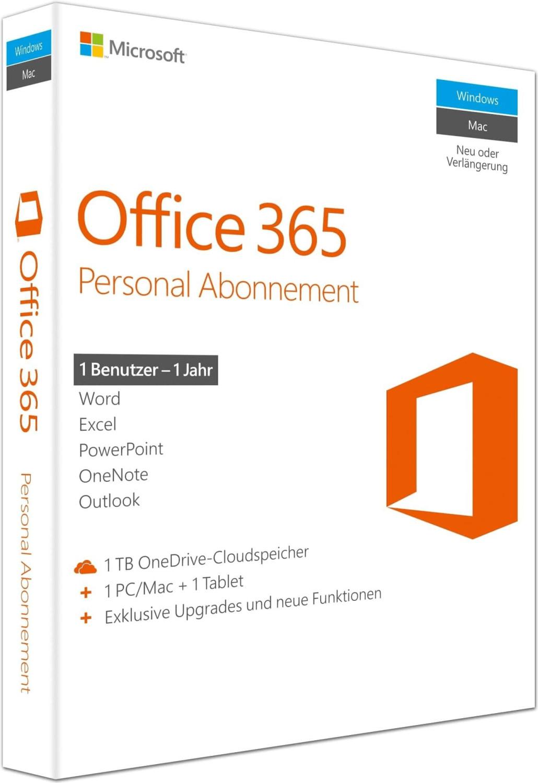 MS Office 365 Personal Abonnement (PC/MAC) 1 Jahr 1 Lizenz für 33€ versandkostenfrei (Media Markt)