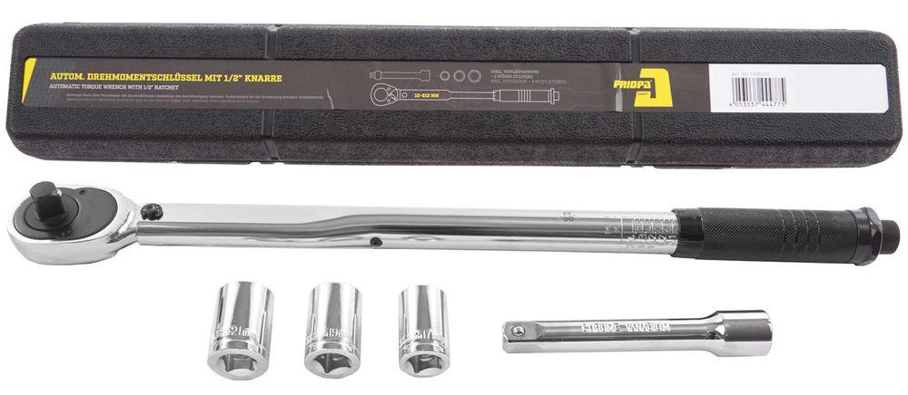 Drehmomentschlüssel 1/2 Zoll 10-210 Nm inkl. 3 Stecknüsse und Verlängerung