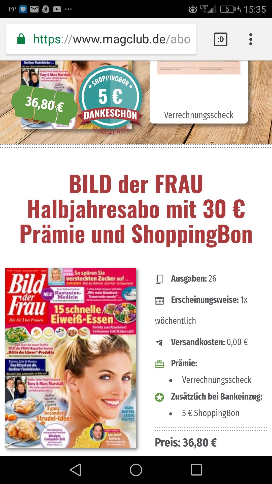 [ magclub ] 26 Ausgaben Bild der Frau +30€ Verrechnungsscheck und 5€ ShoppingBon für 36,80€