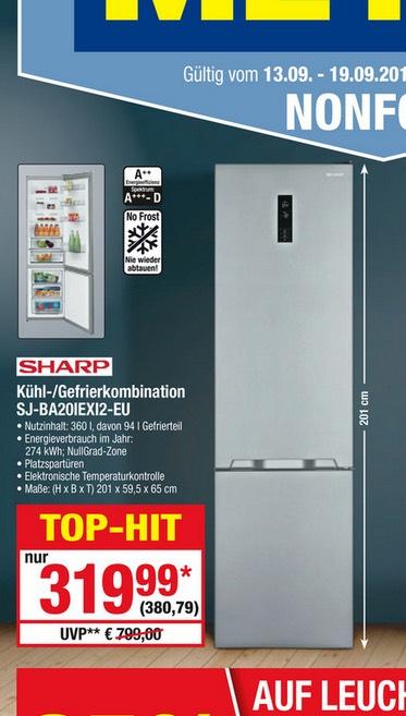 Kühlgefrierkombi A++ Sharp SJ BA 20 IRXI2 EU