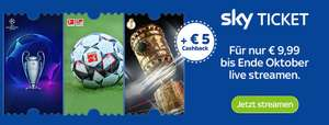 Bis Ende Oktober Sky Supersport Ticket für einmalig € 9,99 streamen + 5€ Cashback! [Sky Ticket Neukunde]