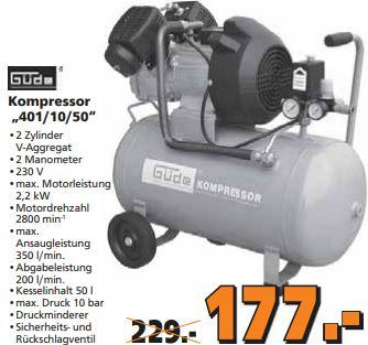 [Globus lokal] Güde Kompressor  401/10/50 und zusätzl. Güde Druckluftset 71tlg.