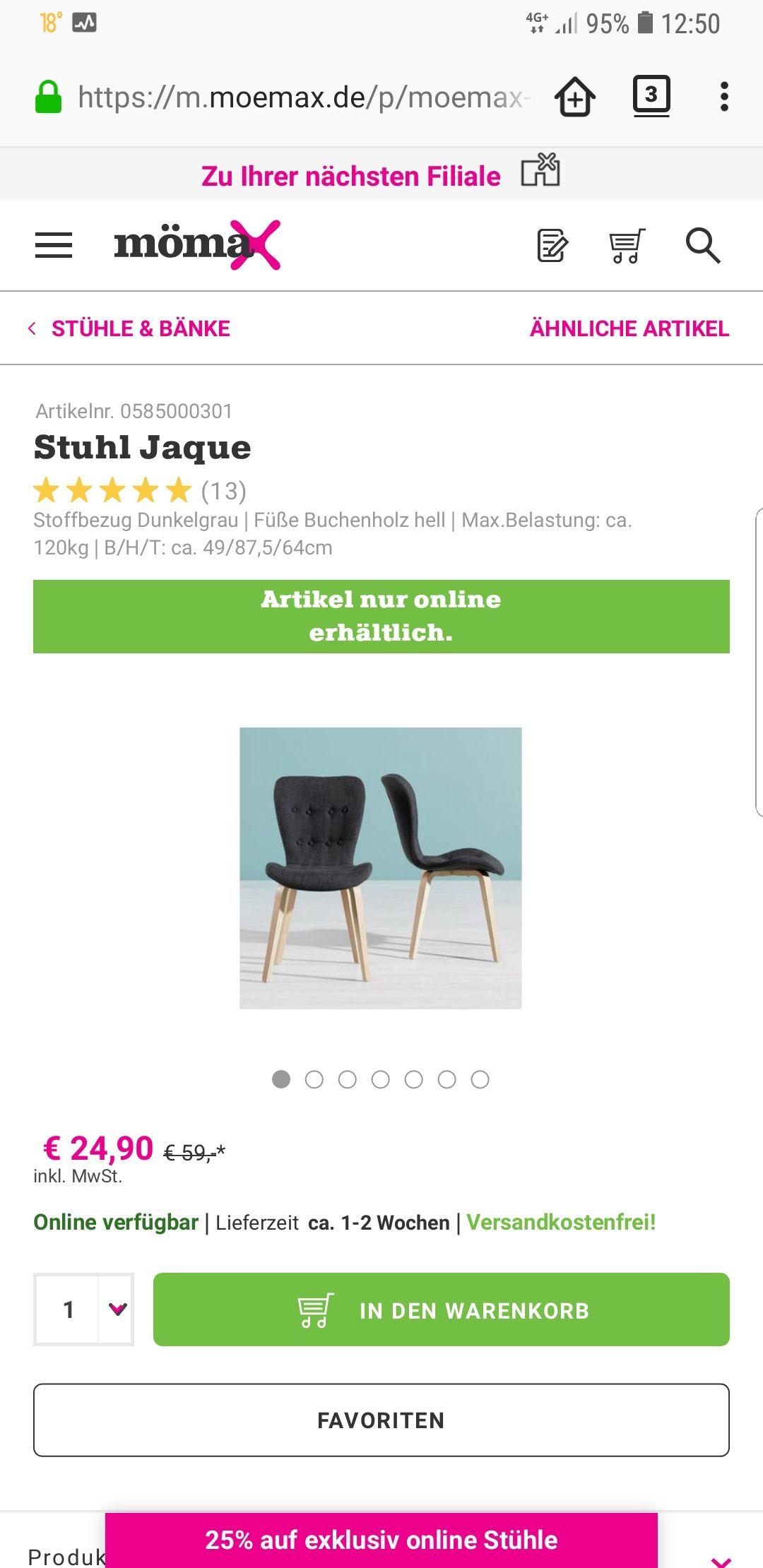 Stuhl JAQUE sowie alle anderen exclusiv online Stühle bei Mömax mömax.de mit 25% Rabatt