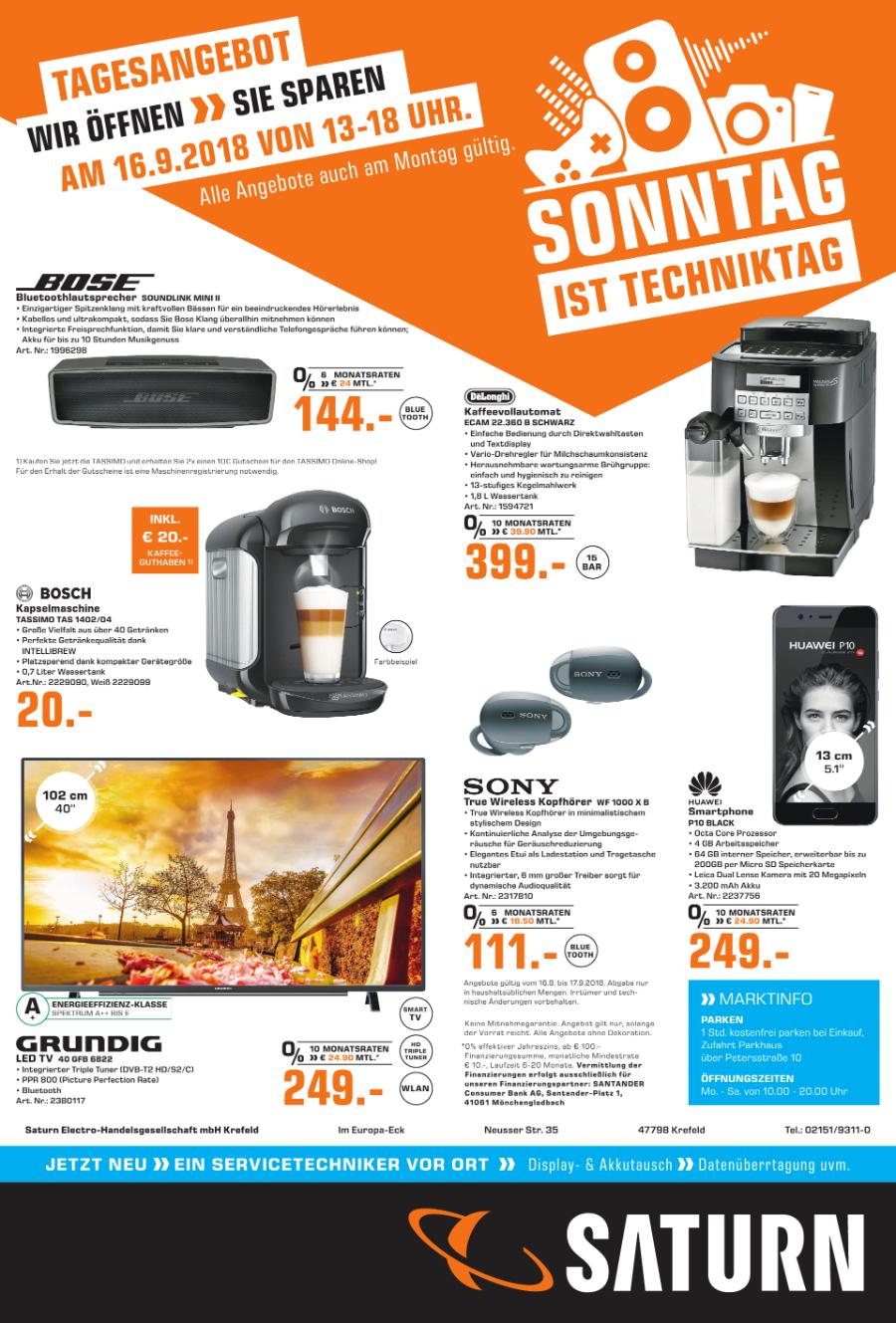 [Lokal Saturn Krefeld] Verkaufsoffener Sonntag: Bose SoundLink Mini II,Tassimo quasi umsonst, u.a.