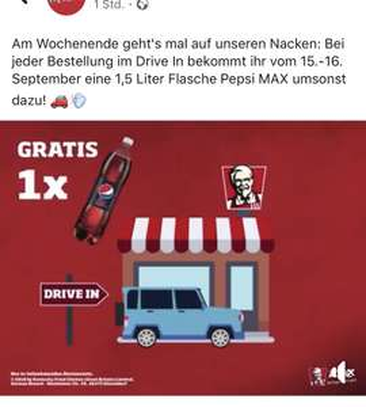 [KFC 15.+16.09.] - 1,5 Liter Pepsi Max gratis bei jeder Bestellung im Drive In