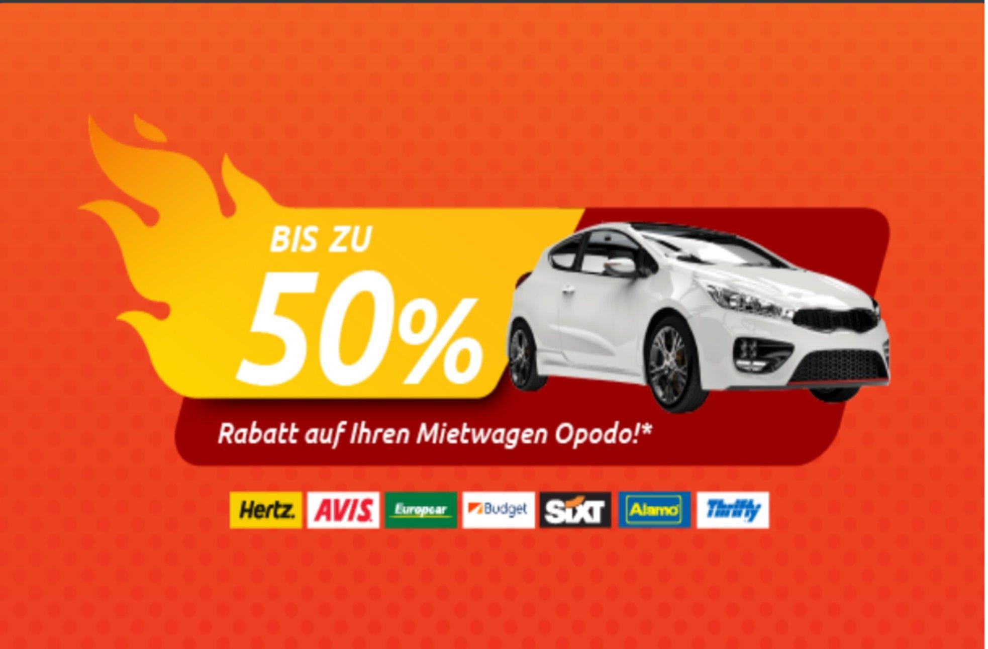 Opodo 50% Rabatt bei Mietwagen (max.2Tage, ab dem 01.09.) An ausgewählten Flughäfen und Innenstädten.
