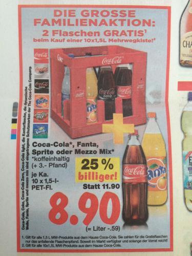 Coca Cola Kasten 10x1,5l plus 2 Fl. extra bei Kaufland (ggf. lokal Berlin-Brandenb.?) 0,49€/Liter