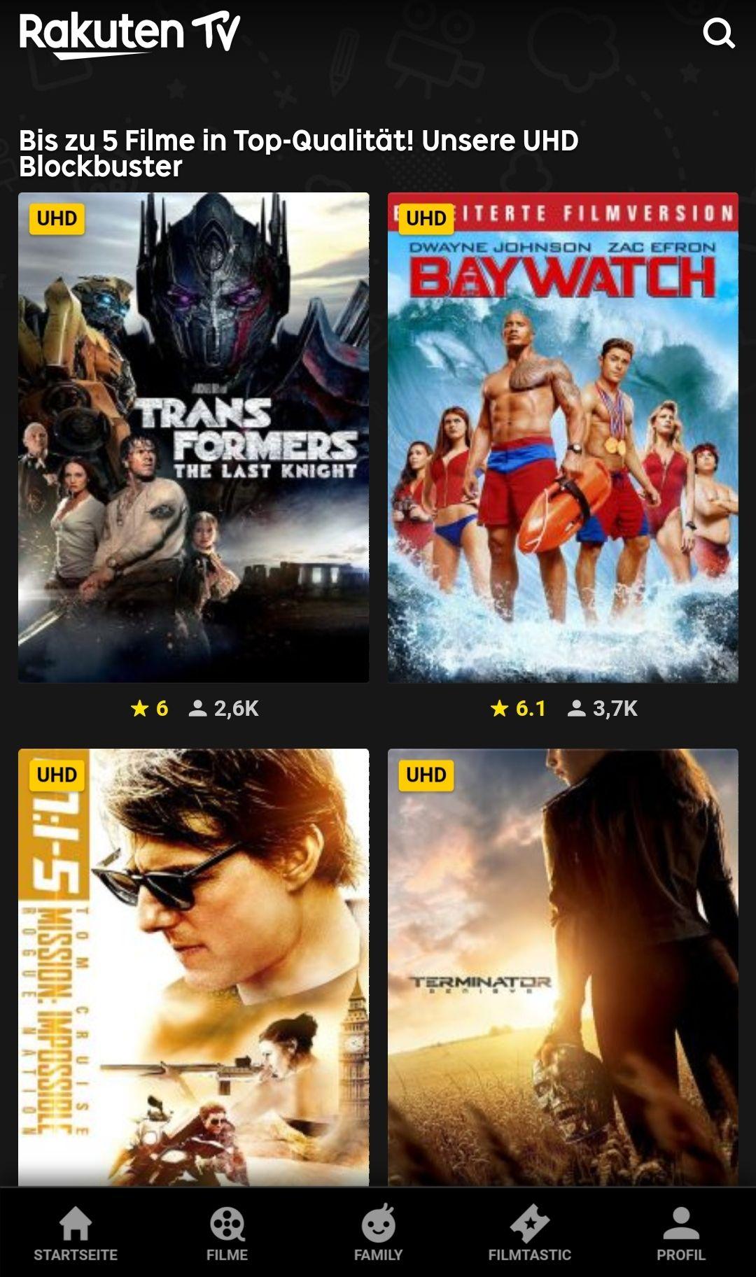 Rakuten TV ! 5 UHD 4K Top-Filme für je 1,99 € kaufen [8% shoop]