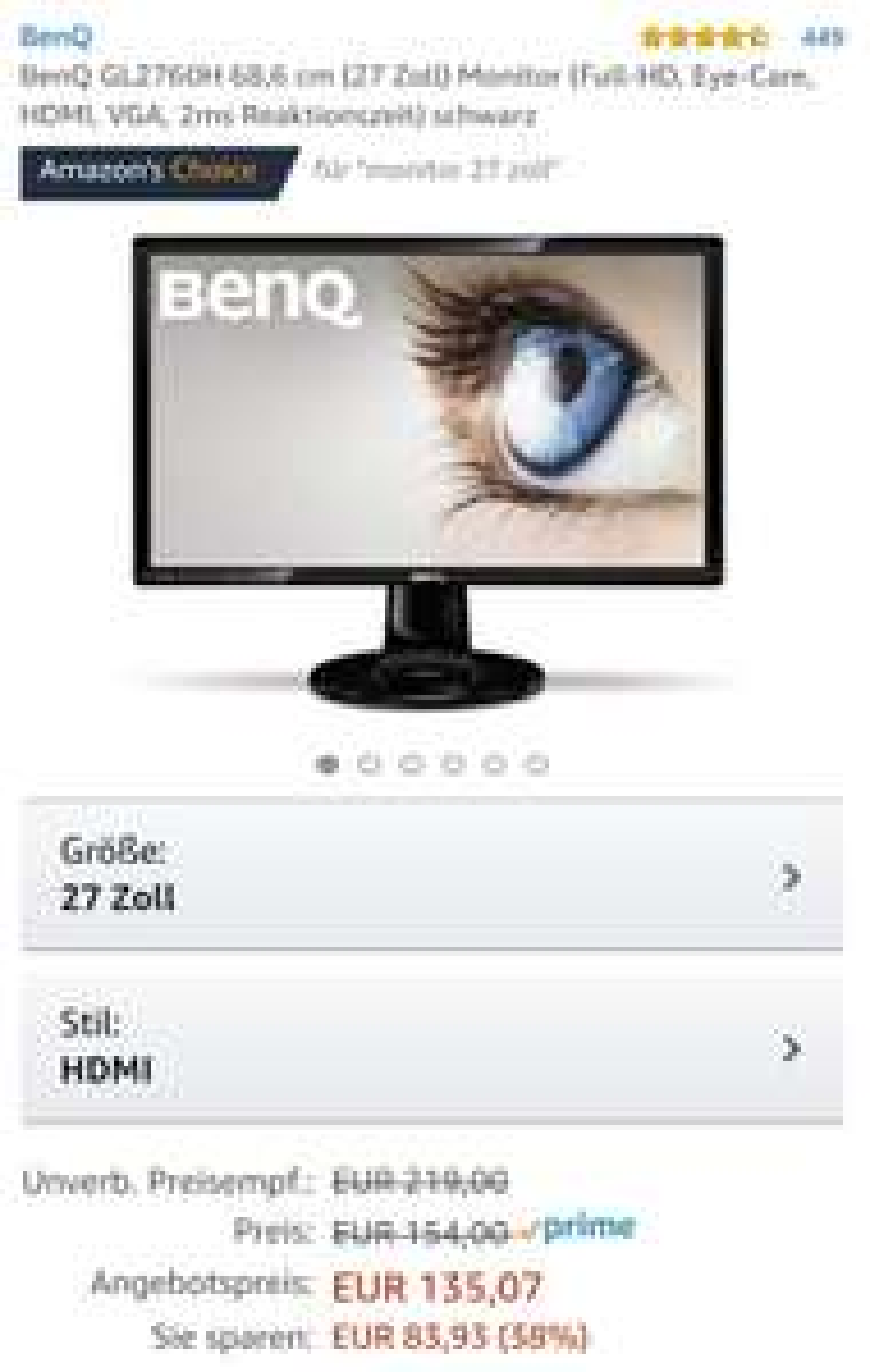 [Amazon Blitzangebot] BenQ GL2760H PC Monitor