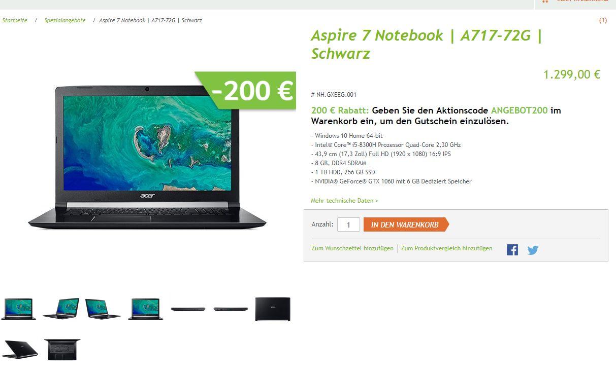 "Aspire 7 Notebook - NH.GXEEG.001 - 17,3"", i5-8300H, 8 GB, GeForce® GTX 1060, 256 SSD"