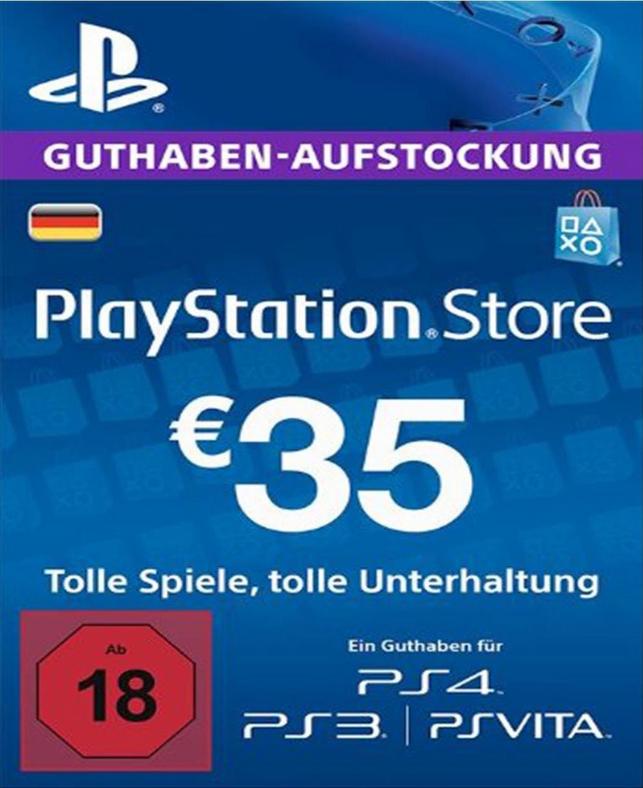 PlayStation Network PSN Card 35€ für 30,58€ nur DE-Store