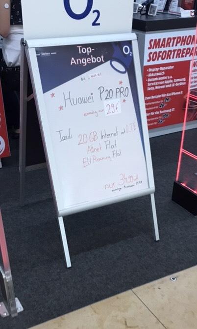 Huawei P20 Pro inkl 20GB + Allnetflat im Mediamarkt Sindelfingen (Lokal)
