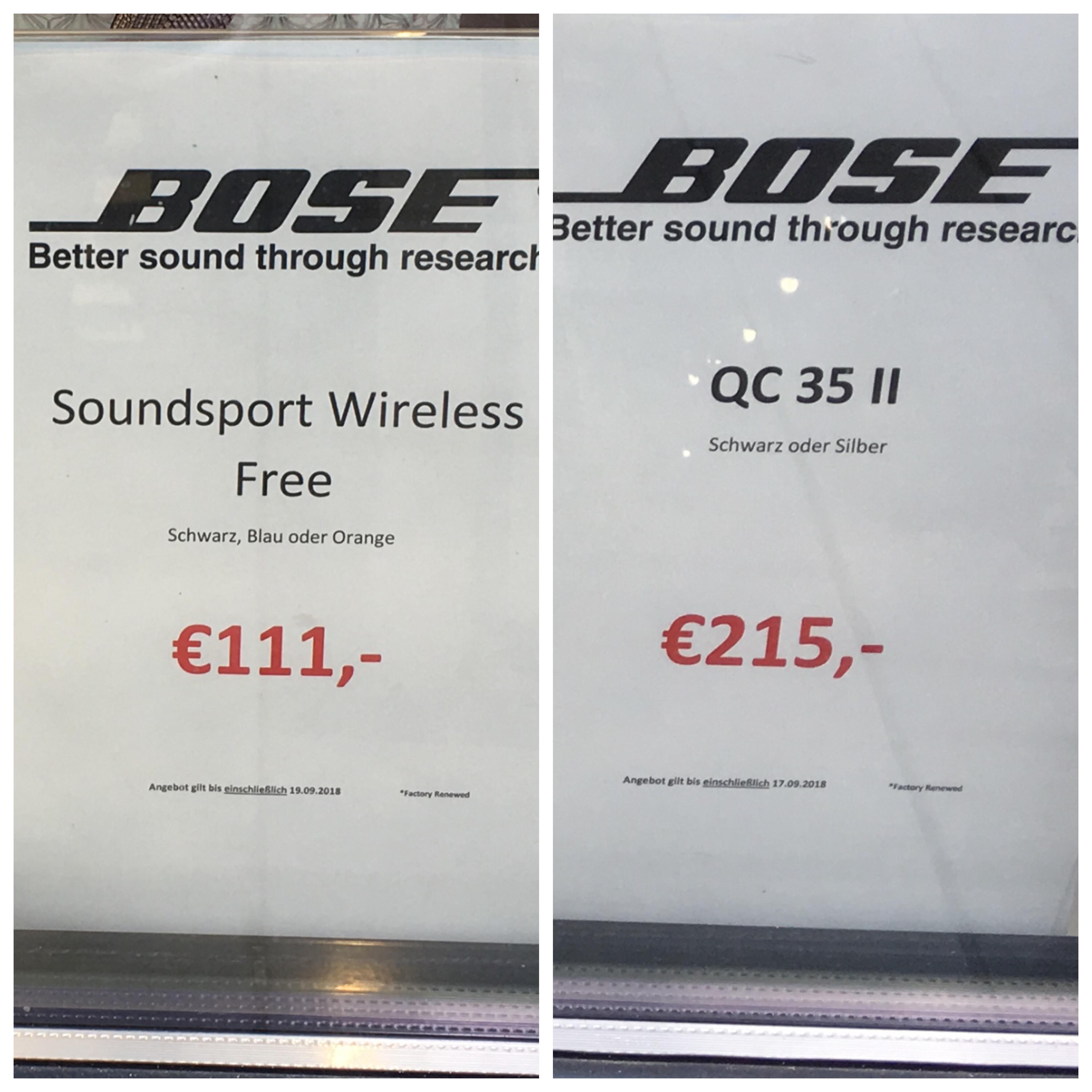 Sammeldeal [Lokal] Bonn Bose Store SoundSport Wireless 111,-€ Quiet Comfort 35 II 215,-€