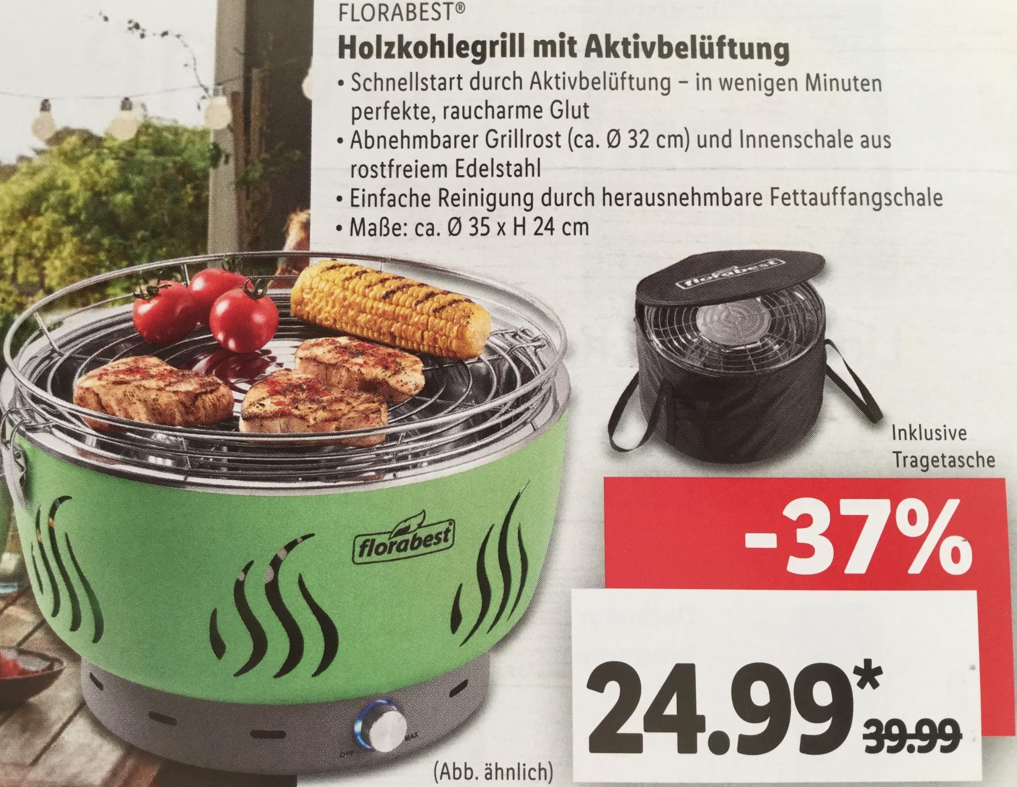 [LIDL - Lokal 91074 Herzogenaurach] - FLORABEST® Holzkohlegrill mit Aktivbelüftung (wie LotusGrill) für € 24,99 / Haribo effektiv € 0,44 für 200 Gramm Packung und andere Angebote