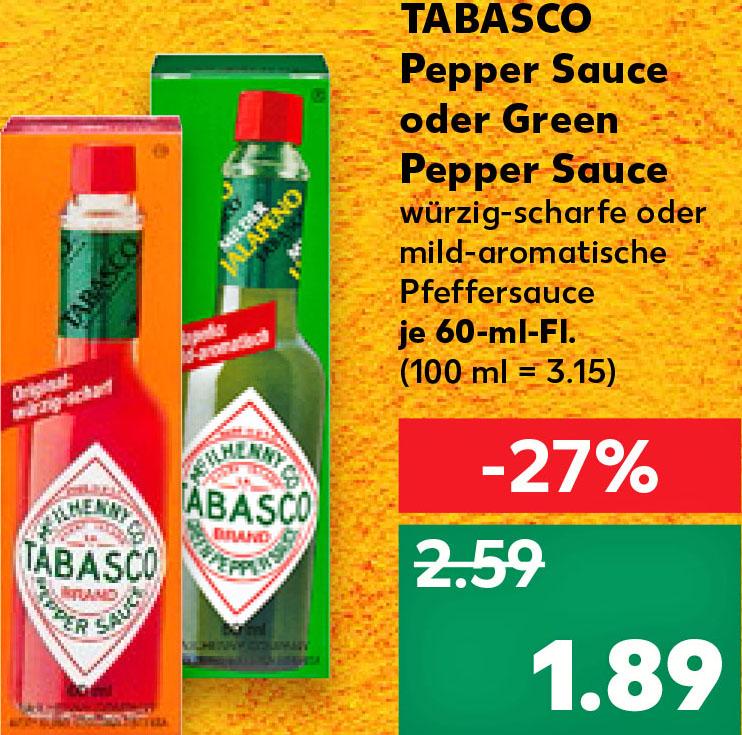 Tabasco Pepper Sauce für nur 1,89€ // Jalapeños im Glas für 1,29 Cent bei (Kaufland ab 20.09.)