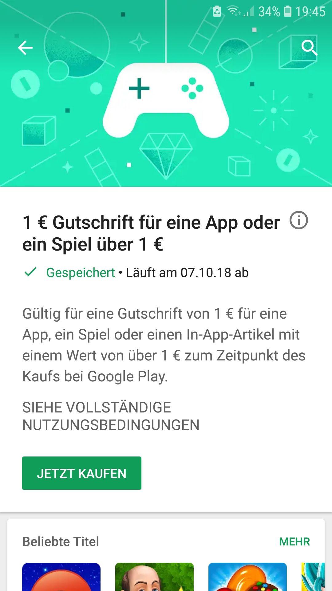 1€Gutschrift für eine App oder ein Spiel über 1€ (ANDROID) [FÜR AUSGEWÄHLTE KUNDEN]