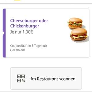 Cheeseburger oder Chickenburger bei McDonald's