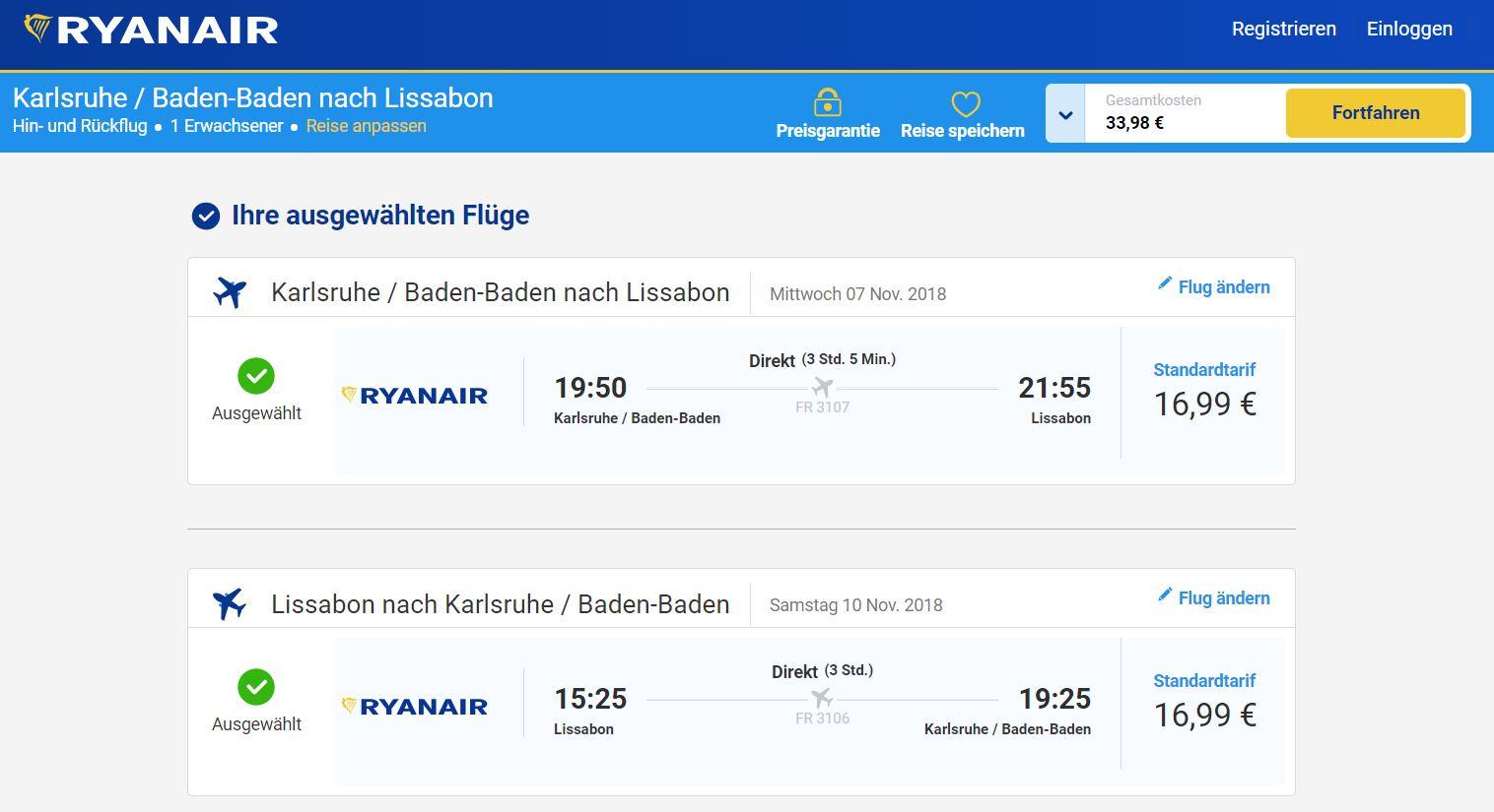 Ryanair - Hin- & Rückflug Karlsruhe Lissabon im November (07.-10.11.)